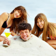 Party on sand — Stock Photo