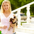 Girl with pet - Stock Photo