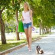 Strolling with dog — Stock Photo