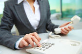 Pressing telephone buttons — Stock Photo