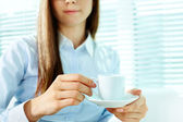 Female with cup — Stock Photo