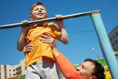 First chin-up — Stock Photo