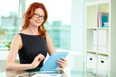 Businesswoman in black — Stock Photo