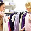 Stock Photo: Trying clothes on