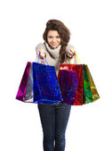Woman and shopping bags — Stock Photo