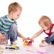 Little children are drawing with hands — Stock Photo #10880302