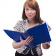 Businesswoman with blue folder — Stock Photo #10880612