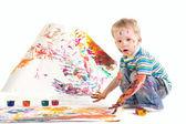 Beauty little boy is drawing — Stock Photo