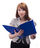 Businesswoman with blue folder — Stock Photo