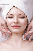 Facial massage for the beautiful woman — Stock Photo