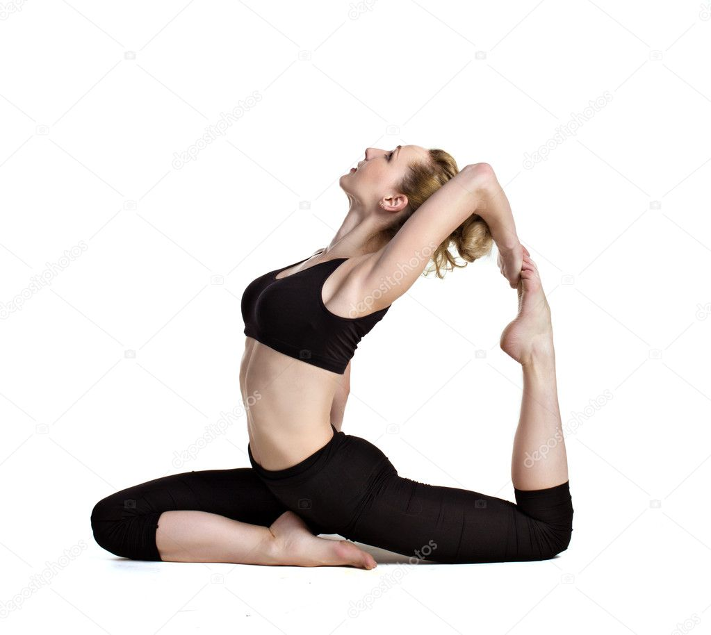 Young woman doing yoga exercises isolated on white — Stock Photo #10880389