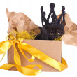 Black kitten in a crown sitting in a box set — Stock Photo