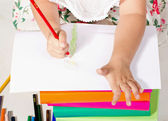 Little girl drawing crayon — Stock Photo