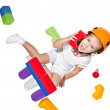 Little girl playing with constructor — Stock Photo