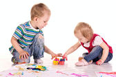 Little children are drawing with hands — Stock Photo