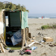 Poor camp on the beach — Stock Photo