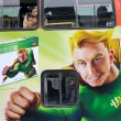 Super hero on bus — Stock Photo