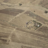 Aerial view on a traditional masai village — Stock Photo