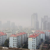 Air pollution over the town — Stock Photo