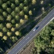 High angle view of car on road in France — Stock Photo