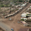 Aerial view of huts in Tanzania, Africa - Stock Photo