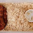 High angle view of corn snake or red rat snake, Pantherophis guttattus, in cage — Stock Photo #10886705