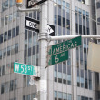 Street signs in New York City, New York, USA - Stock Photo