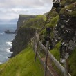 Scenic view of coast of Mykines, Faroe Islands - Stock Photo