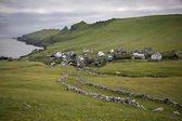 Houses and stone wall in the village of the Island Mykines, Faroe Islands — Stock Photo