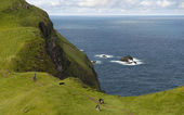 Man and his dogs hiking on Mykines, Faroe Islands — Stock Photo