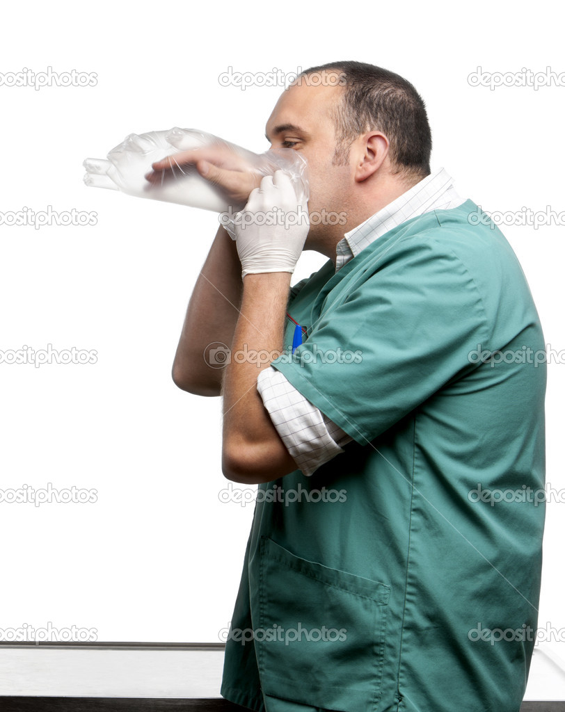 Vet blowing in a plastic glove in front of white background  Stock Photo #10906646