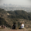 Two persons looking at Los Angeles, California, USA — Stock Photo