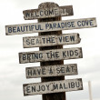 Sign on Malibu beach, Los Angeles, California, USA — Stock Photo
