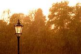 уличный фонарь в дождь — Стоковое фото