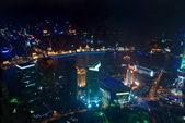 Bird's eye view of Shanghai Pudong, China at night — 图库照片