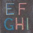 Alphabet letters drawn on asphalt with chalk, e, f, g, h, i — Foto Stock