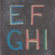 Royalty-Free Stock Photo: Alphabet letters drawn on asphalt with chalk, e, f, g, h, i