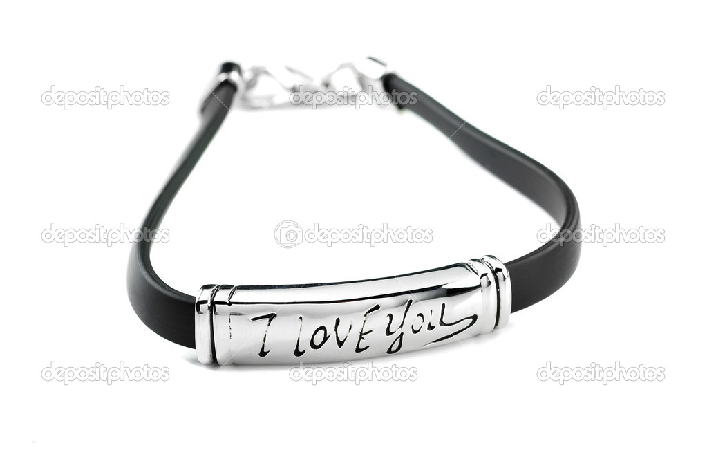 Black rubber bracelet with metal element and inscription I love you — Stock Photo #11001593