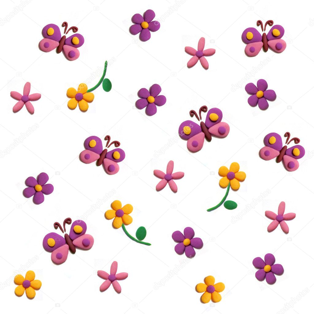 Plasticine pattern. Flowers and butterflies — Stock Photo #11267648