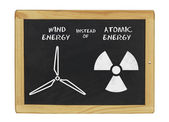 Chalkboard wind energy instead of atomic energy — Stock Photo