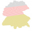 Perspectively distorted map of Germany with a point grid — Stock Photo