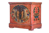 Antique wooden chest with Adam and Eve painting — Stok fotoğraf