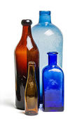 Composition of old blue and brown bottles — Foto Stock