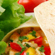 Burrito with chicken and vegetables — Stock Photo