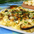Pasta with baked aubergine and mozzarella — Stock fotografie