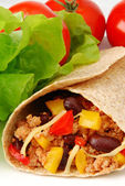 Burrito with meat and beans — Stockfoto
