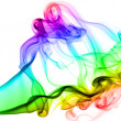 Photo: Incense smoke colored in various colors, on white background