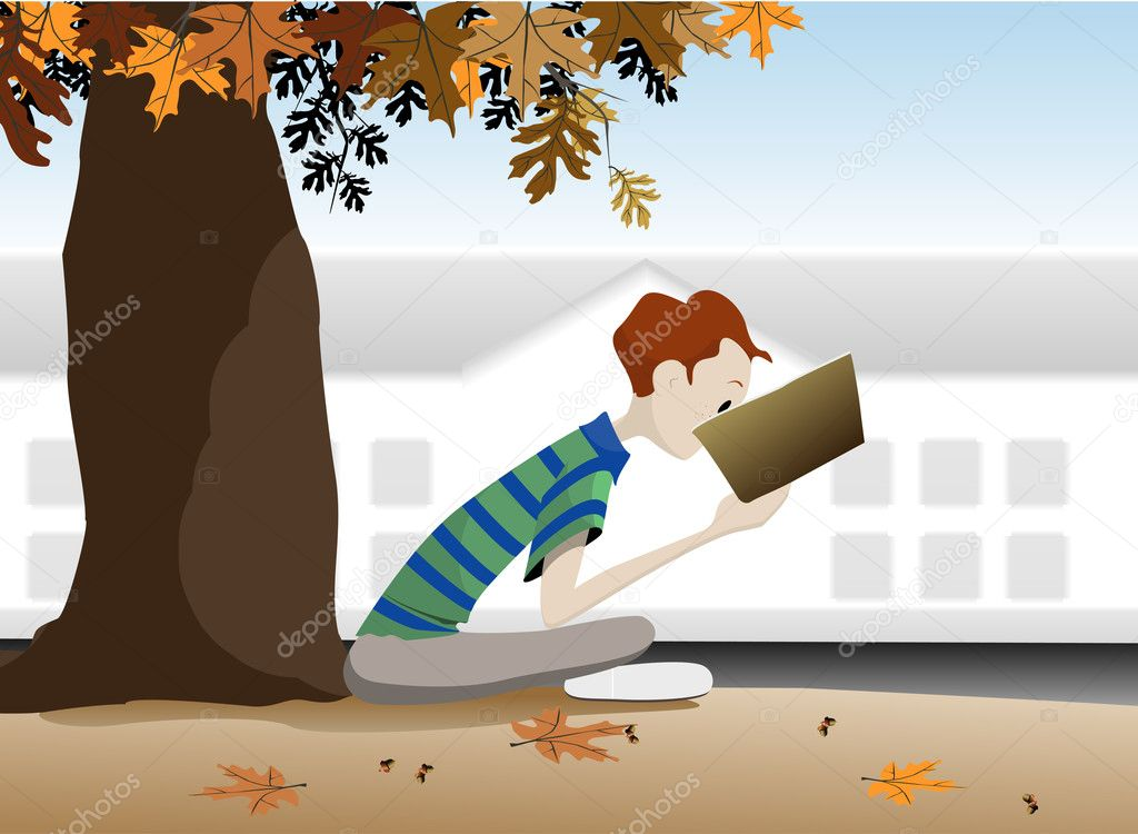 Student reading a book under a tree in the autumn.  Imagen vectorial #10887817