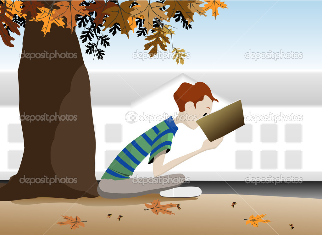 Student reading a book under a tree in the autumn.  Imagens vectoriais em stock #10887817