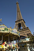 Carrousel in fron of the Eiffel tower in Paris.France — Stock Photo